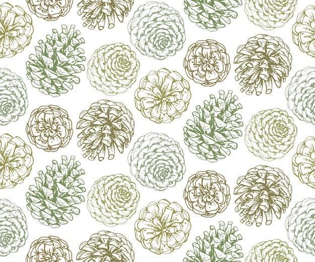 Patrones sin fisuras con conos de pino y ramas