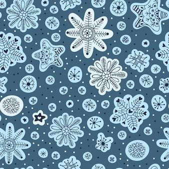 Patrones sin fisuras los copos de nieve dibujados a mano