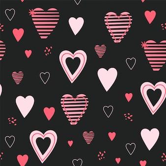 Patrones sin fisuras con corazones dibujados a mano