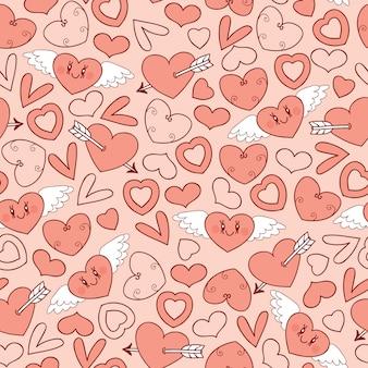 Patrones sin fisuras con corazones