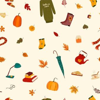Patrones sin fisuras con cosas lindas y hojas de otoño.