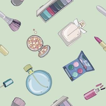 Patrones sin fisuras de cosméticos de moda con objetos de artista de maquillaje. colorida ilustración dibujada a mano.