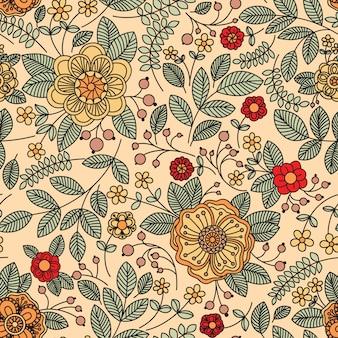 Patrones sin fisuras con crecimiento de hojas y flores