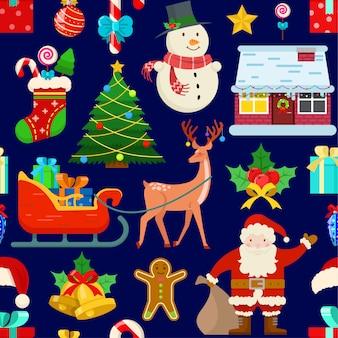 Patrones sin fisuras con decoración navideña