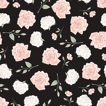 Patrones sin fisuras de delicadas rosas.