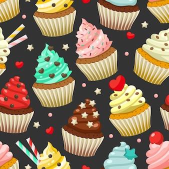 Patrones sin fisuras de deliciosos cupcakes de colores