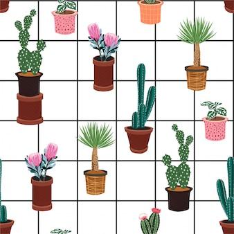 Patrones sin fisuras con diferentes cactus en muchos tipos de macetas en la ventana