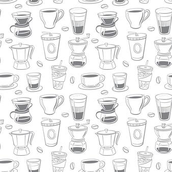 Patrones sin fisuras del doodle de café