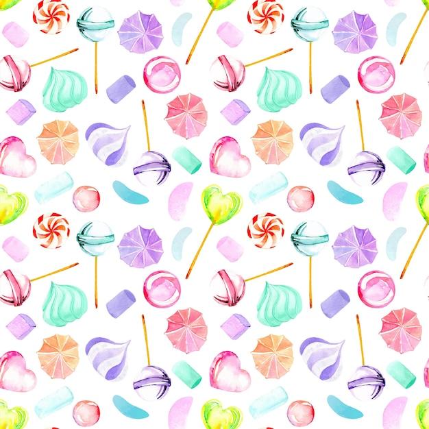 Patrones sin fisuras con dulces de acuarela