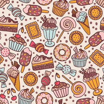 Patrones sin fisuras con dulces y caramelos