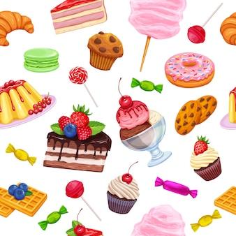 Patrones sin fisuras con dulces y confitería