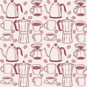 Patrones sin fisuras con elementos de café
