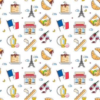 Patrones sin fisuras con elementos de la cultura francesa