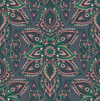 Patrones sin fisuras con elementos florales henna mehndi dibujados a mano