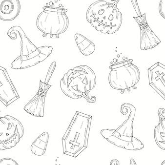 Patrones sin fisuras con elementos de halloween.