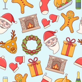 Patrones sin fisuras con elementos navideños