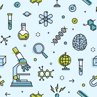 Patrones sin fisuras con equipo de laboratorio científico. telón de fondo con atributos de ciencia, experimento biológico o químico, investigación. ilustración moderna en estilo de línea de arte para fondo de pantalla.