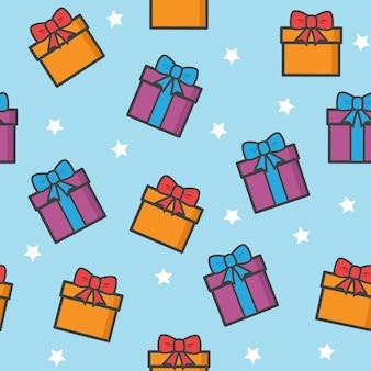 Patrones sin fisuras con estrellas y regalos de navidad