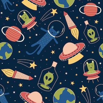 Patrones sin fisuras con extraterrestres divertidos y gato en galaxia