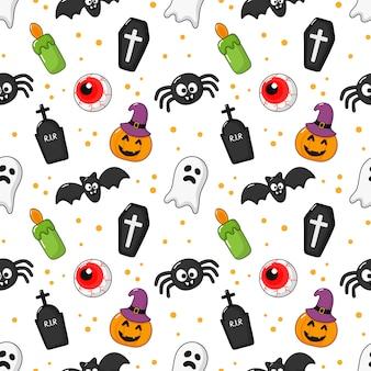 Patrones sin fisuras feliz halloween iconos aislados en blanco.