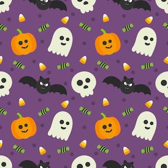 Patrones sin fisuras feliz halloween iconos aislados en púrpura.