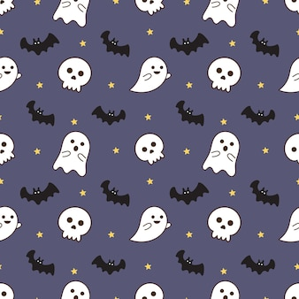 Patrones sin fisuras feliz halloween iconos aislados sobre fondo púrpura.