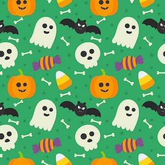 Patrones sin fisuras feliz halloween iconos aislados en verde.