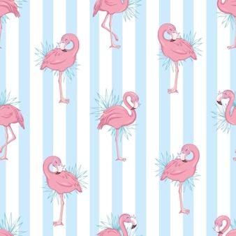 Patrones sin fisuras con flamenco rosado de dibujos animados