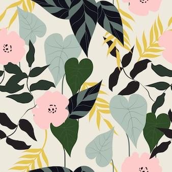 Patrones sin fisuras florales tropicales sin fisuras