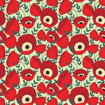 Patrones sin fisuras con flores de amapolas