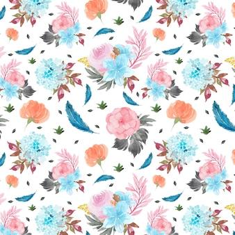 Patrones sin fisuras con flores de colores y plumas azules