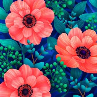 Patrones sin fisuras con flores de coral salvaje
