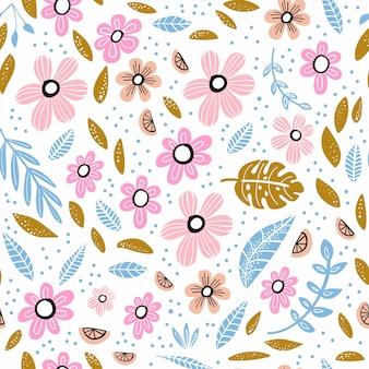 Patrones sin fisuras con flores, hojas y elementos dibujados a mano.