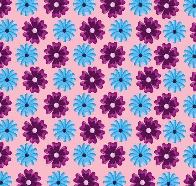 Patrones sin fisuras con flores hojas naturales