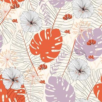 Patrones sin fisuras con flores y hojas tropicales en color beige