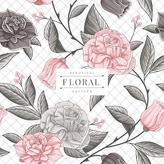 Patrones sin fisuras con flores rosas