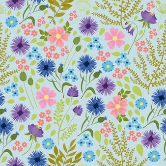 Patrones sin fisuras con flores silvestres, fondo borroso