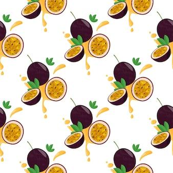 Patrones sin fisuras con frutas de la pasión