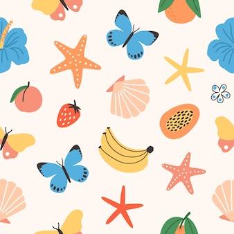 Patrones sin fisuras con frutas tropicales de verano, mariposas, flores exóticas, conchas marinas, estrellas de mar