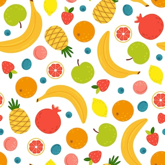 Patrones sin fisuras con frutas tropicales de verano