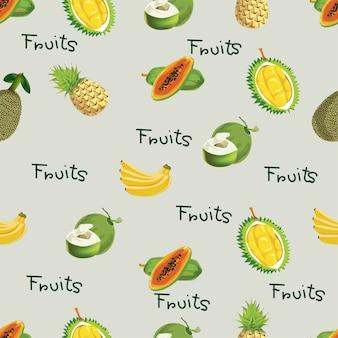 Patrones sin fisuras con frutas tropicales