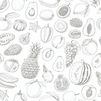 Patrones sin fisuras con frutas