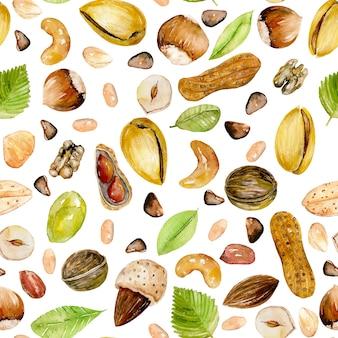 Patrones sin fisuras con frutos secos acuarela
