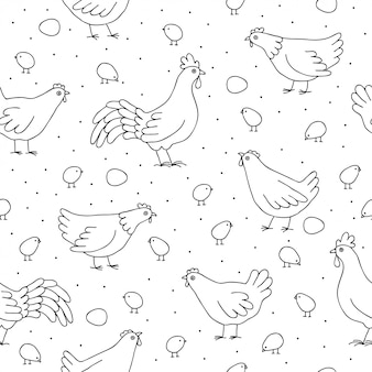 Patrones sin fisuras con gallinas, gallos.