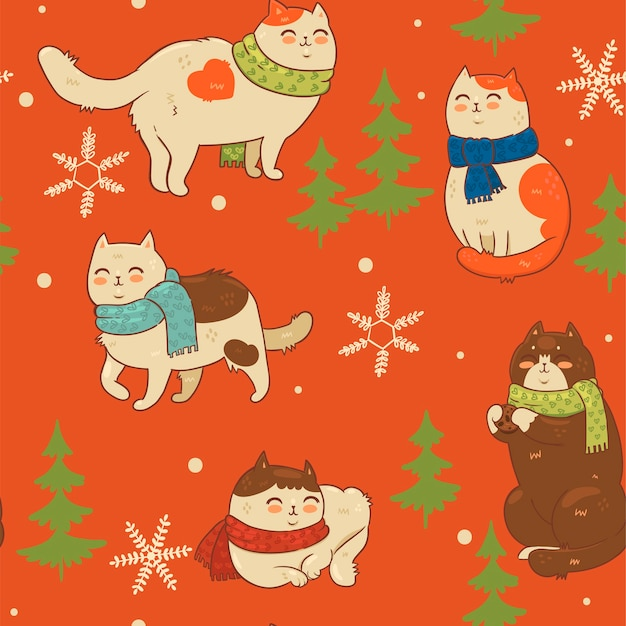 Patrones sin fisuras con gatos en bufandas y copos de nieve