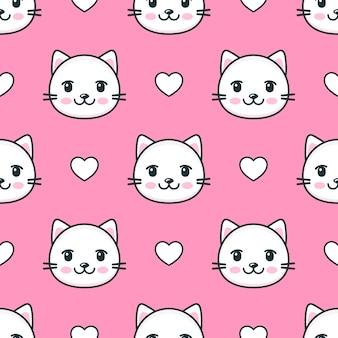 Patrones sin fisuras con gatos y corazones