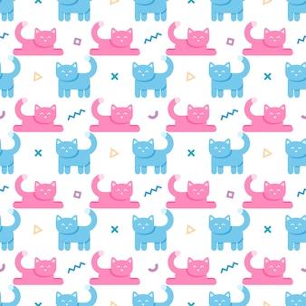 Patrones sin fisuras con gatos y formas geométricas