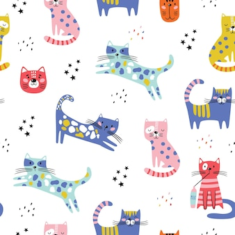 Patrones sin fisuras con gatos graciosos.