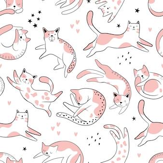 Patrones sin fisuras con gatos graciosos