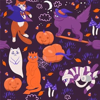 Patrones sin fisuras con gatos de halloween.